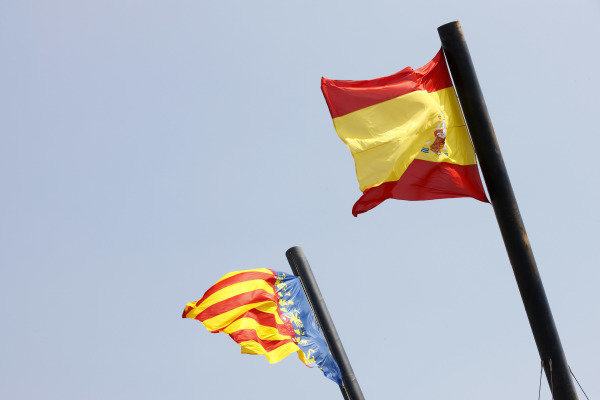 Valencia Street Circuit, Valencia, Spain 23rd June 2011. The Spanish and Catalan flags. Atmosphere.  World Copyright:Steven Tee/LAT Photographic ref: Digital Image _I4V1251
