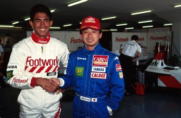 The two Japanese drivers in F1 Aguri Suzuki,left, and Ukyo Katayama, right. South African GP, Kyalami, 14 March 1993