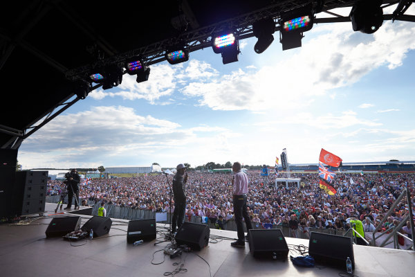 Silverstone, Northamptonshire, England. Sunday 6 July 2014. Lewis Hamilton, Mercedes AMG, on stage. World Copyright: Steve Etherington/LAT Photographic. ref: Digital Image SNE19994