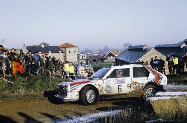 1985 World Rally Championship. Lombard RAC Rally, Great Britain. 24-28 November 1985. Henri Toivonen/Neil Wilson (Lancia Delta S4), 1st position, action.  World Copyright: LAT Photographic.