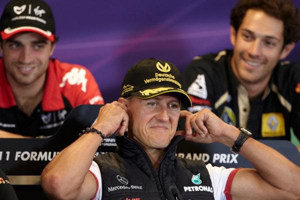 Spa-Francorchamps, Spa, Belgium 25th August 2011. Michael Schumacher, Mercedes GP W02, in the Thursday press conference. Portrait. Press Conferences.  World Copyright: Steve Etherington/LAT Photographic ref: Digital Image SNE29688