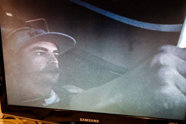 2017 Verizon IndyCar Series Fernando Alonso Simulator Test at HPD-I Brownsburg, Indiana, USA Tuesday 25 April 2017 Fernando Alonso in the Honda Performance Development simulator viewed from the control room monitor World Copyright: Michael L. Levitt LAT Images
