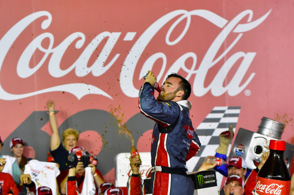 Monster Energy NASCAR Cup Series Coca-Cola 600 Charlotte Motor Speedway, Concord, NC USA Monday 29 May 2017 Austin Dillon, Richard Childress Racing, Dow Salutes Veterans Chevrolet SS celebrates his win in Victory Lane World Copyright: Nigel Kinrade LAT Images ref: Digital Image 17CLT2nk10661