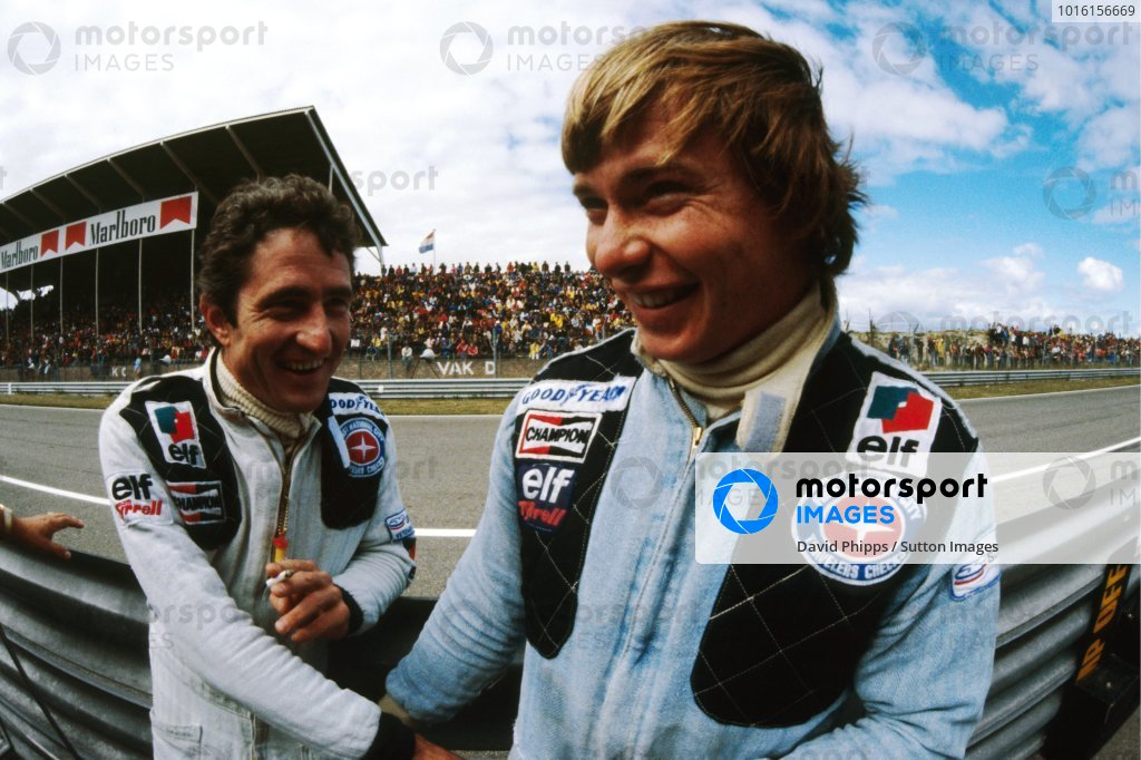 (L to R): Patrick Depailler (FRA), who retired from the race on lap 14 with a blown engine, shakes hands with his Tyrrell team mate Didier Pironi (FRA), who crashed out of the race on the opening lap. Formula One Championship, Rd 13, Dutch Grand Prix, Zandvoort, Holland, 27 August 1978. BEST IMAGE
