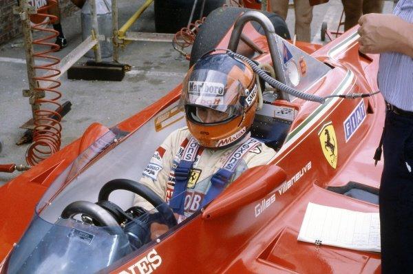 1980 South African Grand Prix.Kyalami, South Africa. 28 February-1 March 1980.Gilles Villeneuve (Ferrari 312T5), retired. Helmet, portrait.World Copyright: LAT PhotographicRef: 35mm transparency 80SA09