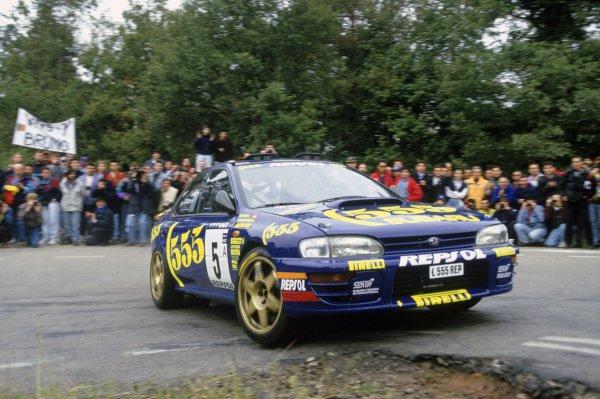 1995 World Rally Championship.Catalunya Rally, Spain. 23-25 October 1995.Carlos Sainz/Luis Moya (Subaru Impreza 555), 1st position.World Copyright: LAT PhotographicRef: 35mm transparency 95RALLY07
