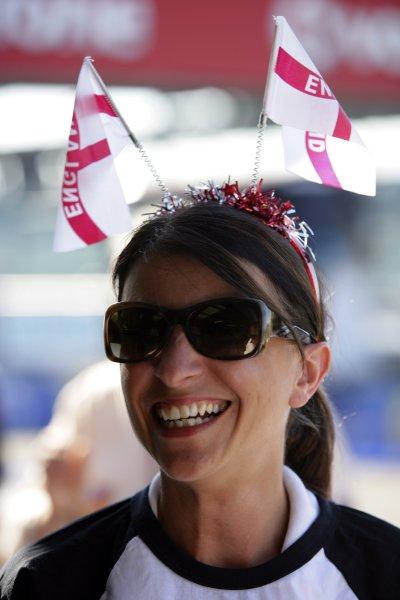 2006 British Grand Prix - Saturday Qualifying Silverstone, England. 8th - 11th June. Holly Samos of BBC Radio Five Live, atmosphere. World Copyright: Lorenzo Bellanca/LAT Photographic ref: Digital Image ZD2J3732