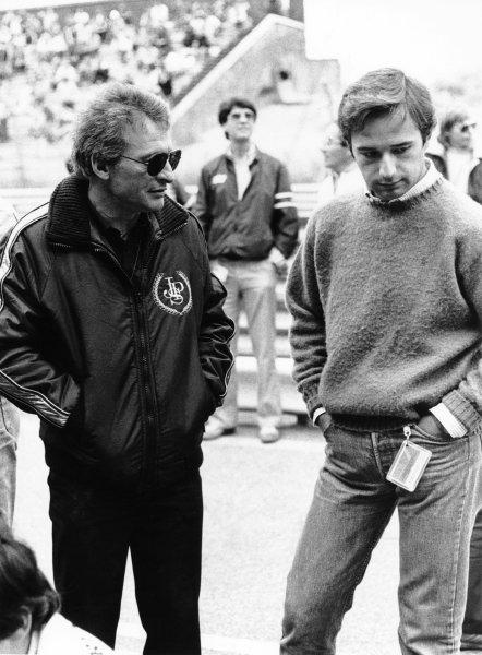 1983 Formula 1 World Championship. Gerard Ducarouge, designer JPS Team Lotus with Elio de Angelis, portrait.  World Copyright: LAT Photographic.  Ref:  B/W Print.