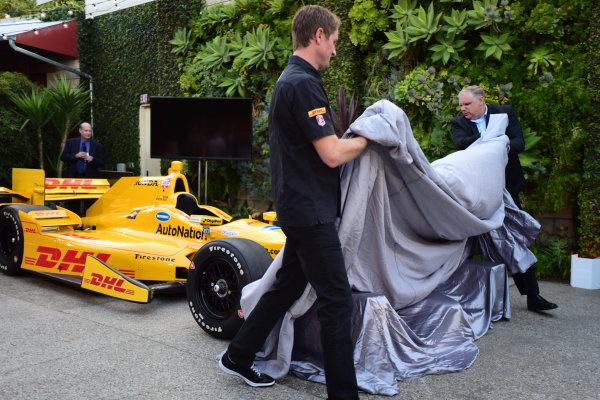 9 March, 2015, Culver City, California USA  Ryan Hunter-Reay and Art St. Cyr (HPD) reveal the aero kit ?2015, Kit Sinclair LAT Photo USA Courtesy of Honda Racing