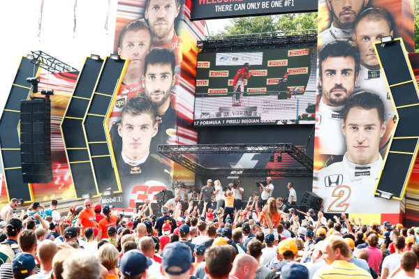 Spa Francorchamps, Belgium.  Saturday 26 August 2017. Stoffel Vandoorne, McLaren, on stage in the F1 Fanzone. World Copyright: Sam Bloxham/LAT Images  ref: Digital Image _J6I9115