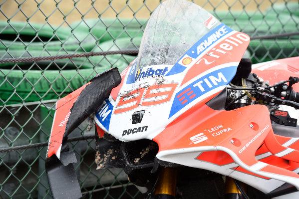 2017 MotoGP Championship - Round 13 Misano, Italy. Sunday 10 September 2017 Jorge Lorenzo, Ducati Team crashed bike World Copyright: Gold and Goose / LAT Images ref: Digital Image 692004