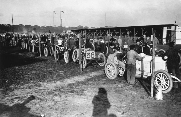 Dieppe, France. 7th July 1908. The Mercedes of race winner Christian Lautenschlager (1st position), is prepared in the paddock, before the start of the race. World Copyright: LAT Photographic