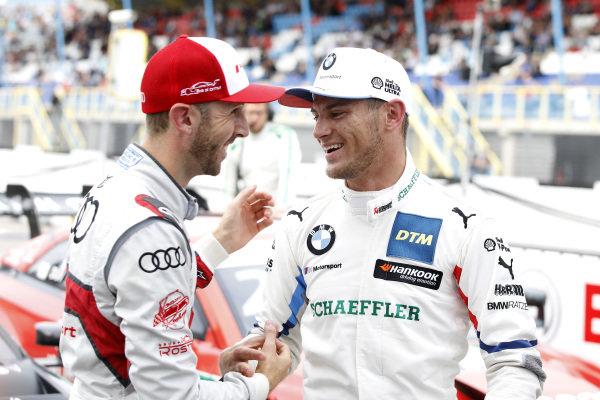 Pole sitter Marco Wittmann, BMW Team RMG with René Rast, Audi Sport Team Rosberg.