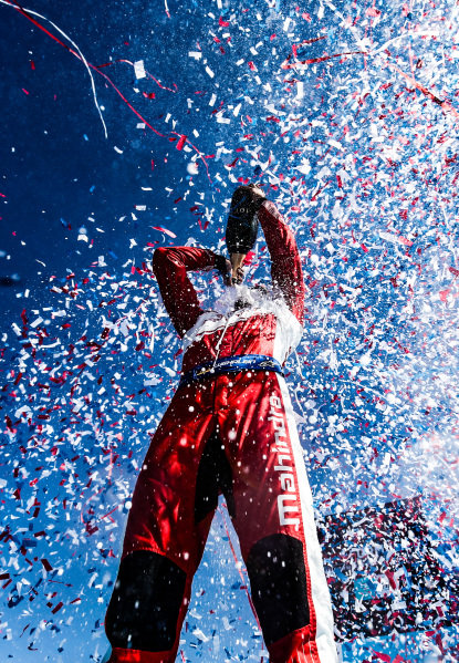 Pascal Wehrlein (DEU), Mahindra Racing, celebrates his maiden podium finish on the podium