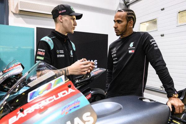 Lewis Hamilton, Fabio Quartararo, Petronas Yamaha SRT.