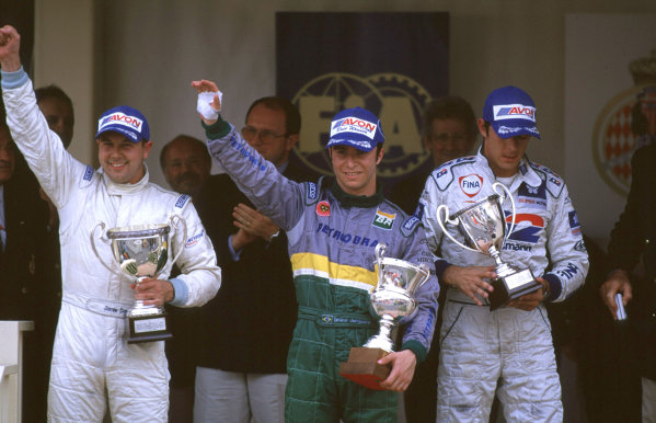 International F3000 MonacoMonte Carlo, Rd 5, 2nd - 3rd june 2000.From left to fight - Jamie Davies (2nd), Bruno Junqueira (1st) and David Saelens (3rd).World - Bellanca/ LAT PhotographicThree Thousand Monaco