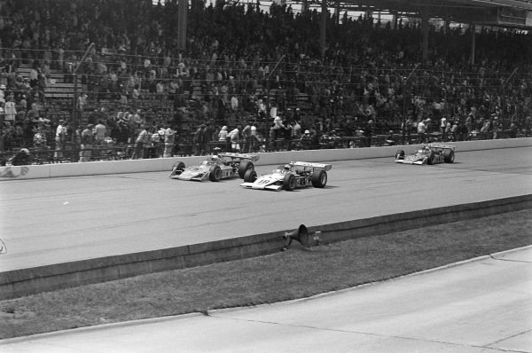 Steve Krilsiloff, Grant King Racers, Kingfish 73 Offenhauser, battles with Lloyd Ruby, Commander Racing Team/Mike Slater, Eagle 72 Offenhauser. They lead Swede Savage, Patrick Racing Team, Eagle 72 Offenhauser.