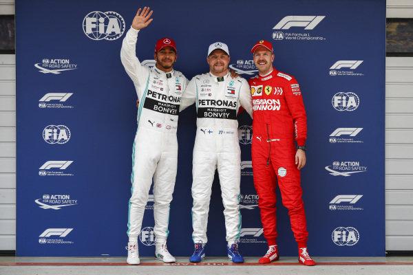 Lewis Hamilton, Mercedes AMG F1, Valtteri Bottas, Mercedes AMG F1 and Sebastian Vettel, Ferrari celebrate in Parc Ferme