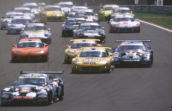 FIA GT Championship 2000Hungaroring, Hungary. 2nd July 2000.Philippe Favre Lister leads from Borris derichebourg and Julian Bailey at the start of the race.World - Fox/ LAT Photographic.
