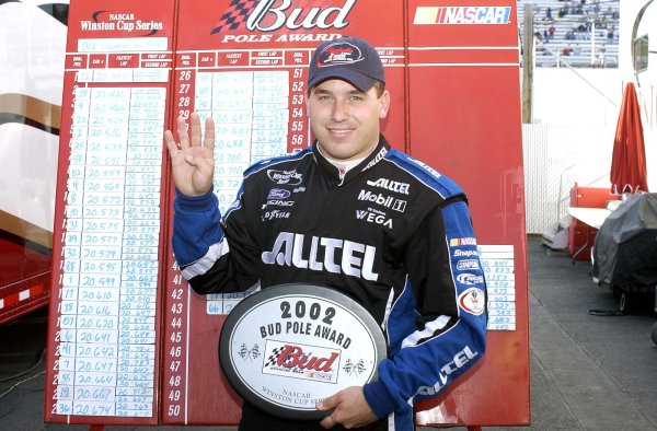 2002 NASCAR,Martinsville Speedway,Virginia,USA,Old Dominion 500, October 18-20, 2002 USA-Ryan Newman holding up 4 fingers,Copyright-Robt LeSieur2002LAT Photographic