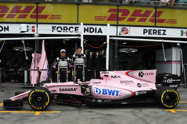 Sergio Perez (MEX) Force India and Esteban Ocon (FRA) Force India F1 at Formula One World Championship, Rd1, Australian Grand Prix, Practice, Albert Park, Melbourne, Australia, Friday 24 March 2017.
