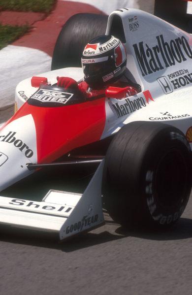 1990 Canadian Grand Prix.Montreal, Canada.8-10 June 1990.Gerhard Berger (McLaren MP4/5B Honda) 4th position.Ref-90 CAN 06.World Copyright - LAT Photographic