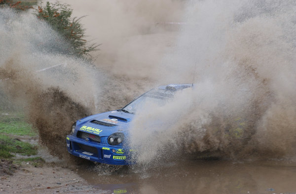 World Rally Championship, Rally of Argentina, May 16-19, 2002.Tommi Makinen splashes through water on stage 7.Photo: Ralph Hardwick/LAT