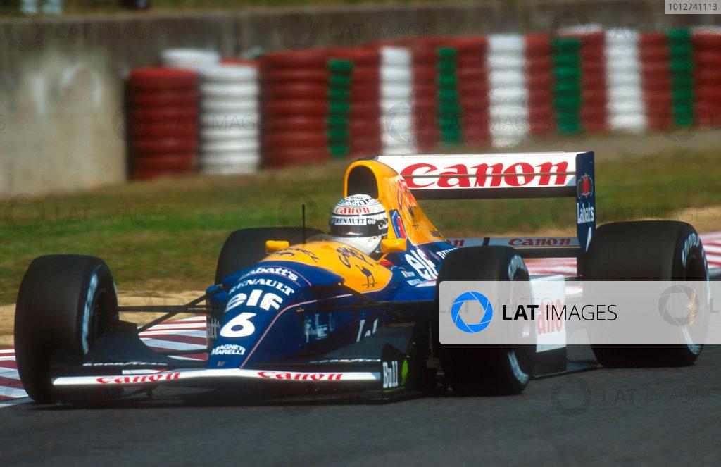 1992 Japanese Grand Prix.Suzuka, Japan.23-25 October 1992.Riccardo Patrese (Williams FW14B Renault) 1st position. This was his last Grand Prix win.Ref-92 JAP 05.World Copyright - LAT Photographic