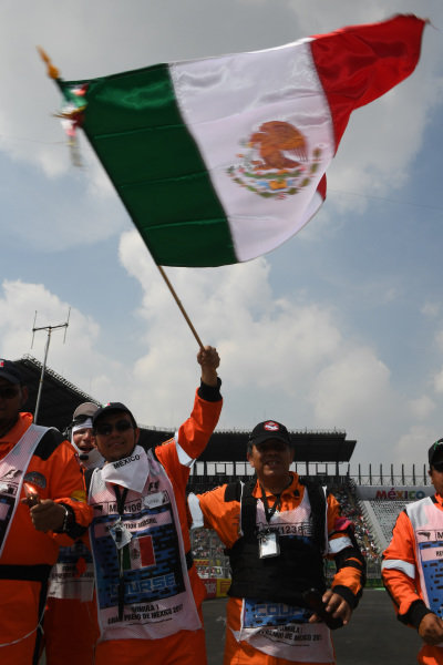 Marshals with flags at Formula One World Championship, Rd18, Mexican Grand Prix, Race, Circuit Hermanos Rodriguez, Mexico City, Mexico, Sunday 29 October 2017.