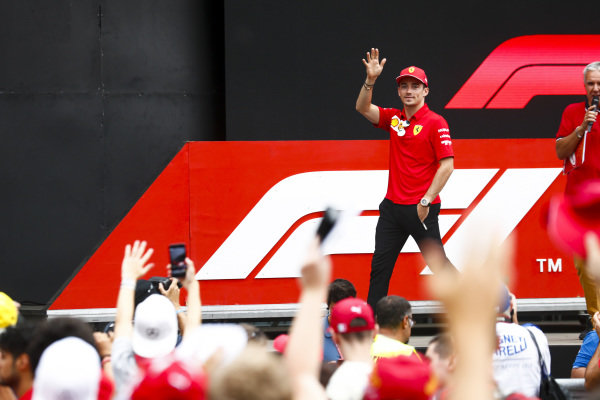Charles Leclerc, Ferrari on stage in the fan zone