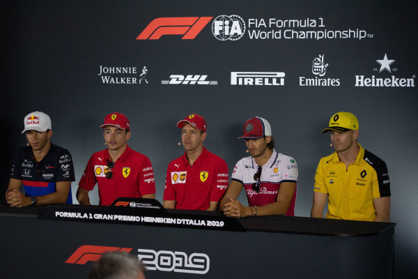Pierre Gasly, Toro Rosso,Charles Leclerc, Ferrari, Sebastian Vettel, Ferrari, Antonio Giovinazzi, Alfa Romeo Racing and Nico Hulkenberg, Renault F1 Team in the Press Conference