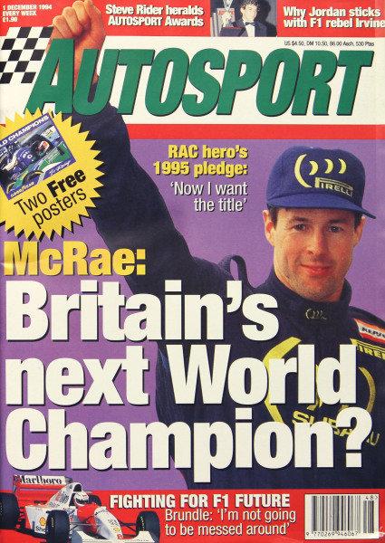 Cover of Autosport magazine, 1st December 1994