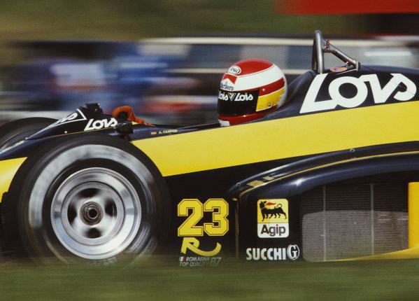 Adrian Campos, Minardi M187 Motori Moderni during practice.