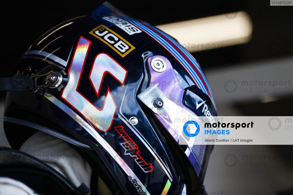 Lance Stroll, Williams Racing, helmet detail.