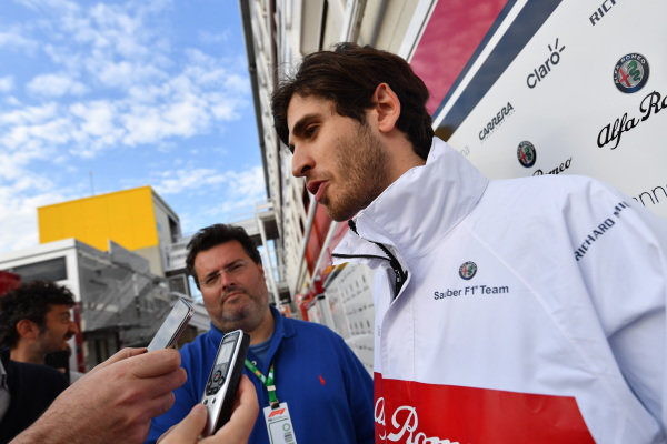 Antonio Giovinazzi (ITA) Alfa Romeo Sauber F1 Team talks with the media