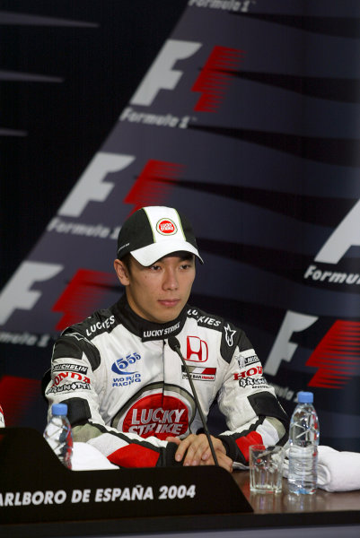 2004 Spanish Grand Prix - SaturdayCircuit de Catalunya, Barcelona, Spain. 7th - 9th May.Takuma Sato, BAR Honda 006 became the first Japanese driver to sit in a post-session F1 press conference with his third place. Portrait.World Copyright: Lorenzo Bellanca/LAT Photographic ref: Digital Image Only