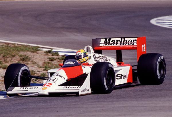 1988 Spanish Grand Prix.Jerez, Spain.30/9-2/10 1988.Ayrton Senna (McLaren MP4/4 Honda) 4th position.Ref-88 ESP 26.World Copyright - LAT Photographic