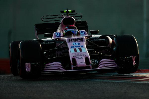 Yas Marina Circuit, Abu Dhabi, United Arab Emirates. Wednesday 29 November 2017. Sergio Perez, Force India VJM10 Mercedes.  World Copyright: Zak Mauger/LAT Images  ref: Digital Image _56I6914