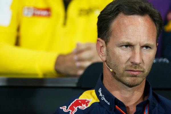 Monte Carlo, Monaco. Thursday 21 May 2015. Christian Horner, Team Principal, Red Bull Racing, in the team principals Press Conference. World Copyright: Alastair Staley/LAT Photographic. ref: Digital Image _79P0194