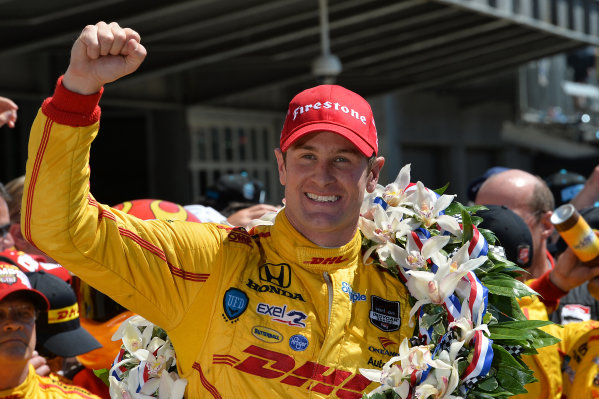 Indy 500 winner Ryan Hunter-Reay (USA) Andretti Autosport celebrates in victory lane. Verizon IndyCar Series, Rd4, Indianapolis 500, Indianapolis, USA, Sunday 25 May 2014.