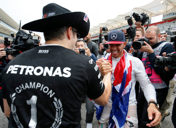Circuit of the Americas, Austin, Texas, United States of America.  Sunday 25 October 2015. Lewis Hamilton, Mercedes AMG, 1st Position, celebrates victory. World Copyright: Steven Tee/LAT Photographic ref: Digital Image _X0W7749