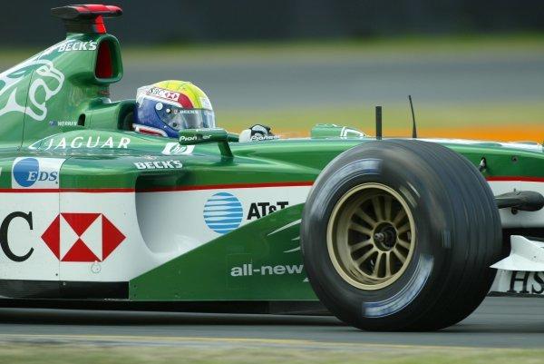 Mark Webber (AUS) Jaguar Cosworth R4 Formula One World Championship, Rd1, Australian Grand Prix, Albert Park, Melbourne, Australia, 8 March 2003.DIGITAL IMAGE