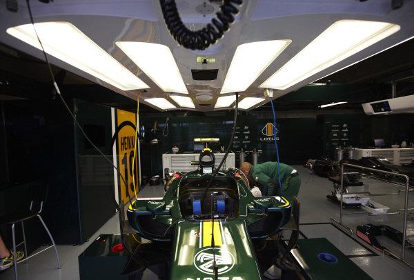 Circuit Gilles Villeneuve, Montreal, Canada10th June 2010The Lotus Racing pit garage.World Copyright: Steve Etherington/LAT Photographicref: Digital Image SNE24218