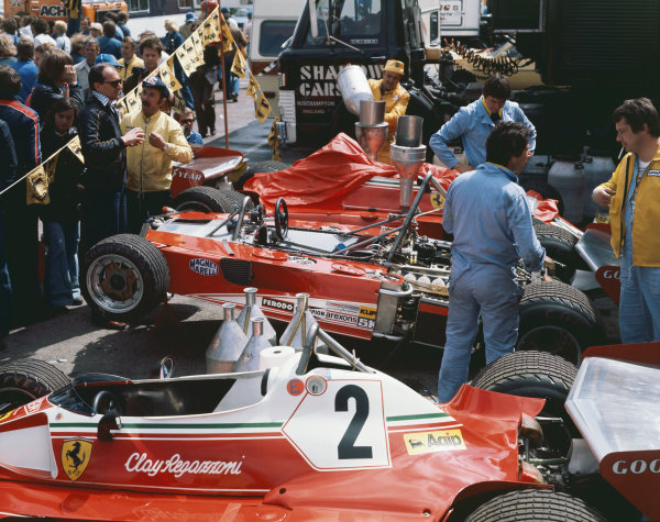 Anderstorp, Sweden. 11th - 13th June 1976. Ferrari 312 T2 cars in the paddock, portrait.  World Copyright: LAT Photographic.  Ref: 76 SWE MF1.