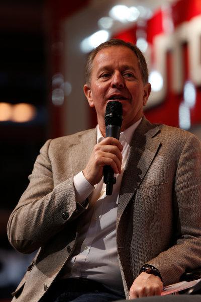 Autosport International Show NEC, Birmingham.  Sunday 12 January 2014. Martin Brundle on the stage. World Copyright:Sam Bloxham/LAT Photographic ref: Digital Image _SBL2740