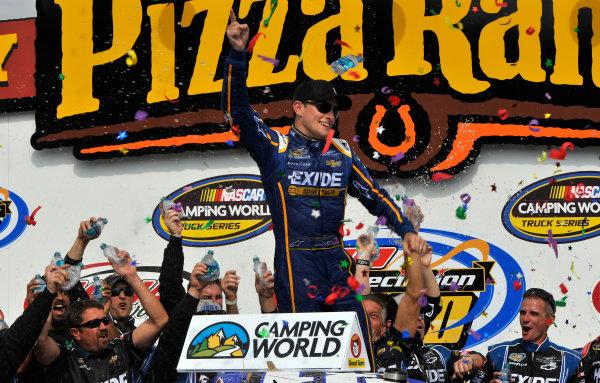 7-8 September, 2013, Newton, Iowa USA James Buescher celebrates the win in victory lane ©2013, Scott R LePage LAT Photo USA