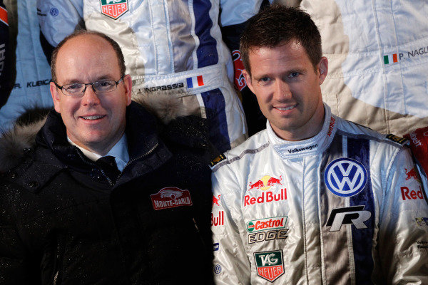 (L to R): HSH Prince Albert of Monaco (MON) and Sebastien Ogier (FRA) Volkswagen. FIA World Rally Championship, Rd1, Rally Monte Carlo, Preparatons, Monte Carlo, 13-15 January 2014.