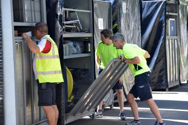 Freight is unloaded at Albert Park. Formula One World Championship, Rd1, Australian Grand Prix, Preparations, Albert Park, Melbourne, Australia, Sunday 9 March 2014.