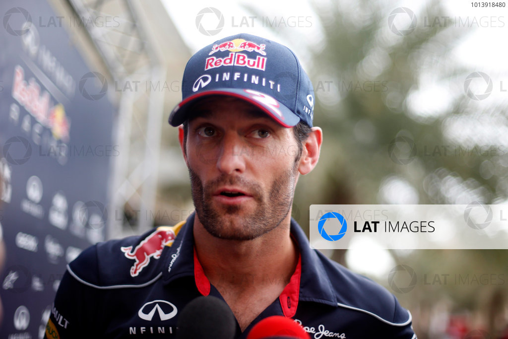Bahrain International Circuit, Sakhir, Bahrain Thursday 18th April 2013 Mark Webber, Red Bull Racing.  World Copyright: Glenn Dunbar/LAT Photographic ref: Digital Image _89P9805
