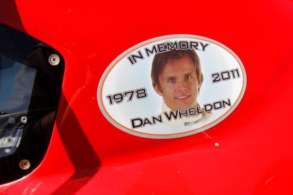 21-23 October, 2011, Talladega, Alabama USATony Stewart tribute decal to Dan Wheldon(c)2011, Lesley Ann MillerLAT Photo USA